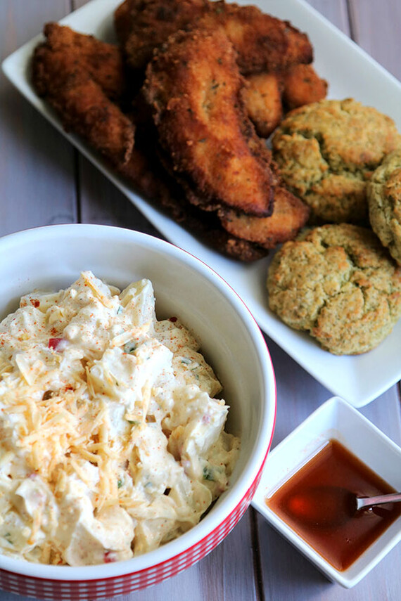 Pimento Cheese Potato Salad with Fried Chicken Tenders and Potato Cheddar Dill Biscuits