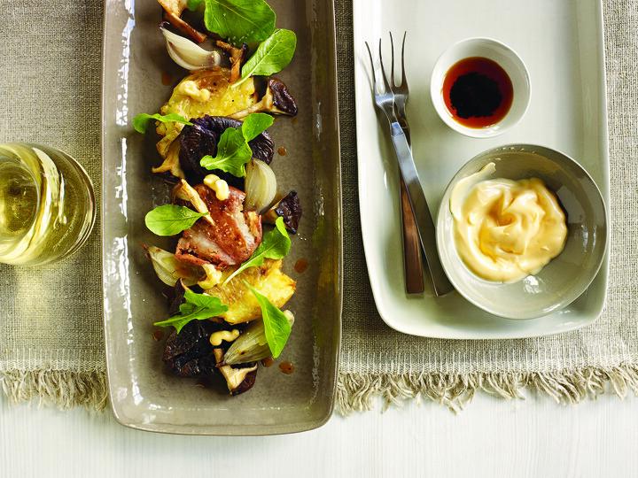 Smoked Shiitakes With Fingerling Potatoes, Shallots And URFA Chili-Kewpie Mayo