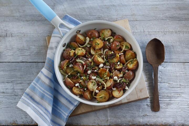 New Potatoes with Roasted Garlic, Pink Peppercorns and Kalamata Olives