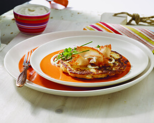 Boxty Potato Cakes with Cured Trout and Whiskey Horseradish Cream
