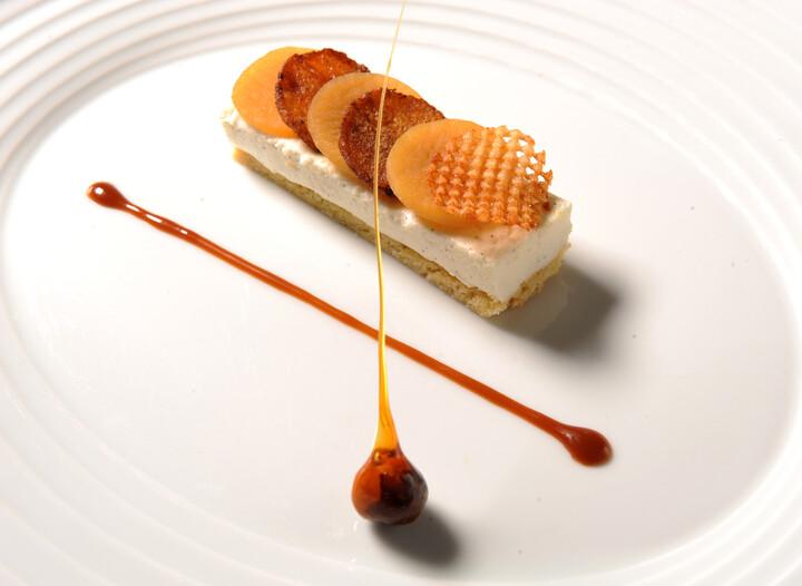 Caramelized Idaho® Potato, Sable Breton, Créme Fraiche Mousse