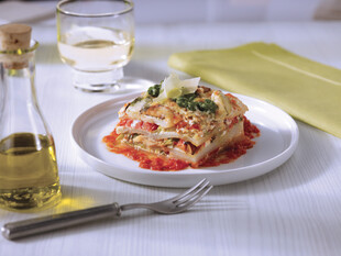 Potato Lasagna with Lemon Ricotta, Pesto and Spicy Tomato Coulis