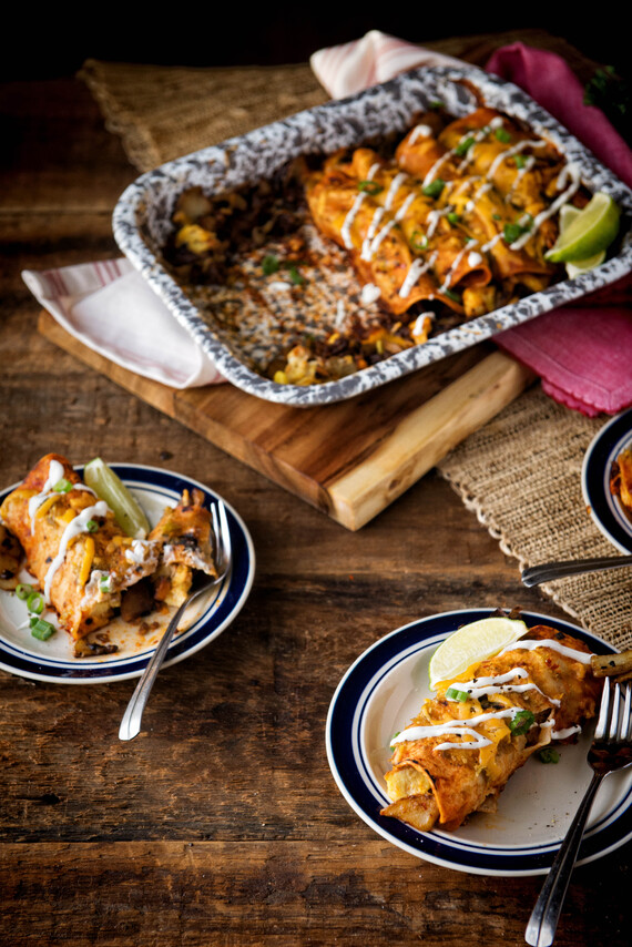 Green and Red Breakfast Enchiladas with Idaho® Potatoes