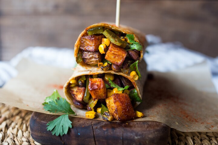 Smoky Potato, Corn and Poblano Burrito