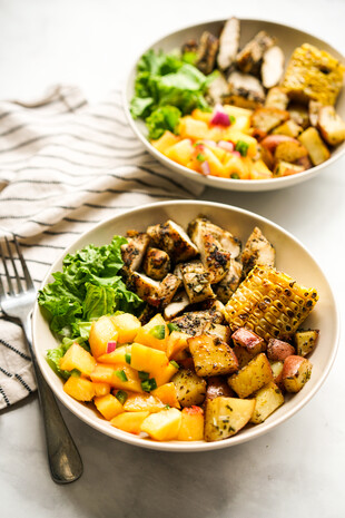 Grilled Chicken and Potato Summer Bowl