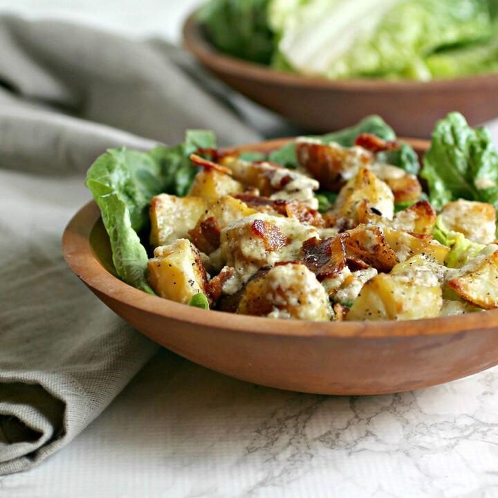 Roasted Potato and Bacon Caesar Salad