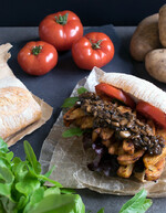 Potato Cajun Fry Vegan Po' Boy with Mushroom Gravy