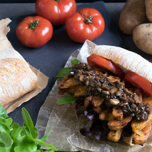 Potato Cajun Fry Vegan Po' Boy with Mushroom Gravy