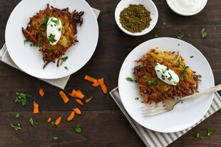 Spiced Idaho® Potato & Carrot Latkes