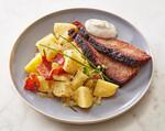 Warm German Idaho® Potato Salad with Smoked Brisket