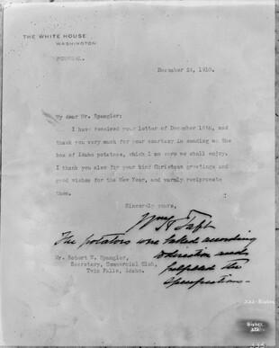 Letter from President Taft
