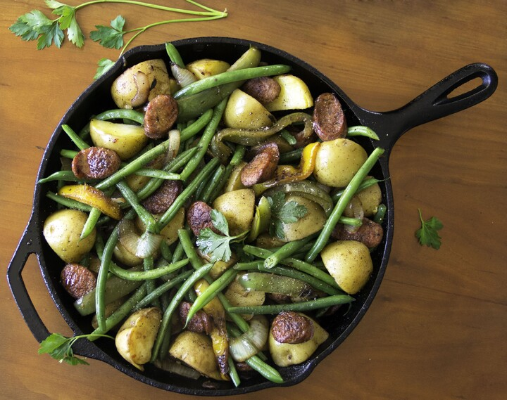 Sausages, Onions, Idaho® Potatoes, Peppers and Green Beans