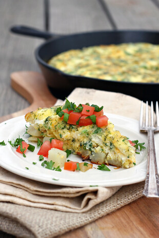 Potato, Tomato, Herb & Goat Cheese Frittata