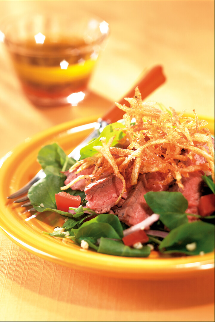 Flat Iron Steak Salad with Truffled Potato Chips