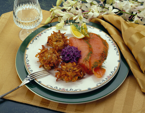 Dill Cured Salmon Graviax with Caraway Idaho® Potato Cakes, Pickled Red Cabbage & Horseradish Ver Jus