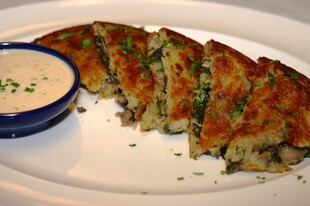 Spinach and Wild Mushroom Rosti Idaho® Potato with Garlic Herb Cream