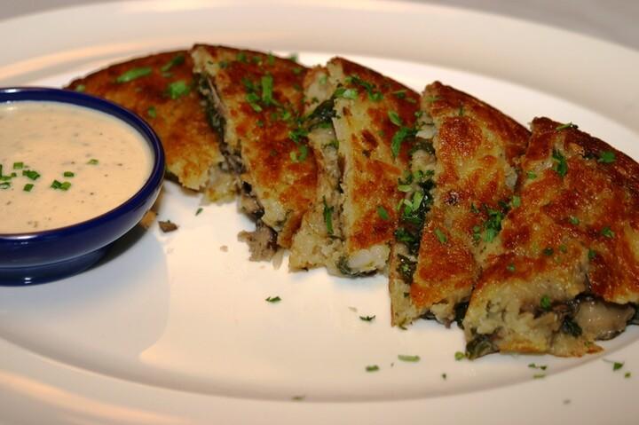Spinach and Wild Mushroom Rosti Idaho® Potato with Garlic Herb Cream
