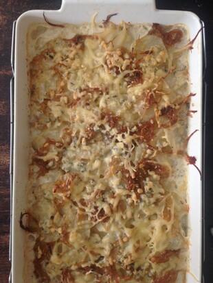 Blue Cheese and Leek Potato Gratin