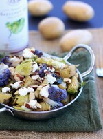 Roasted Idaho® Potatoes, Cauliflower, and Brussels Sprouts with Goat Cheese and Hazelnuts