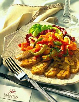 Grilled Potato and Spanish Sweet Onion Salad with Smoked Salmon and Roasted Bell Pepper