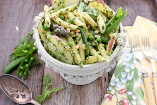 Penne with Arugula Pesto, Idaho® Red Potatoes and Spring Vegetables
