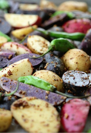 Fingerling Potatoes with Shishito Peppers and Asian Spices