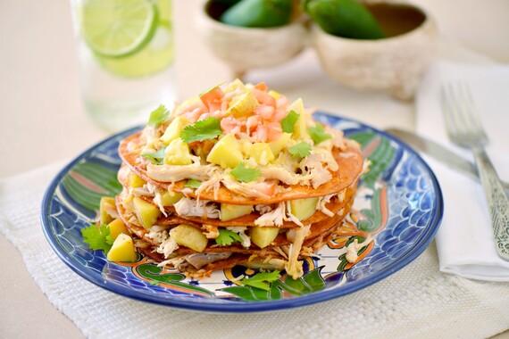 Stacked Chicken and Potato Enchilada
