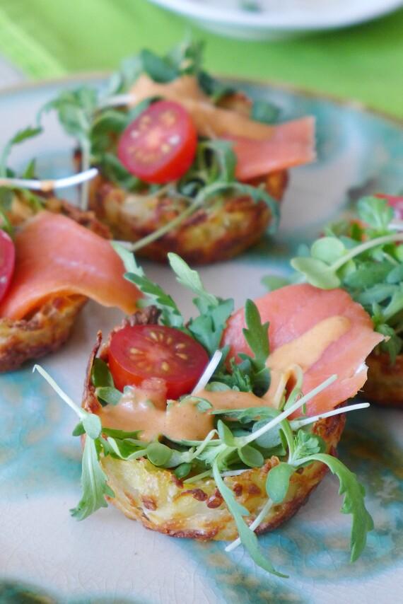 Cotija Potato Nests with Micro Greens, Smoked Salmon and Creamy Chipotle Dressing