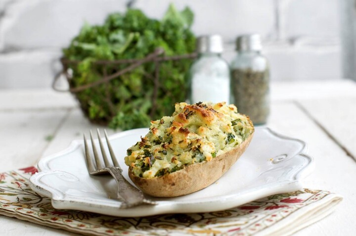 Kale and Olive Oil Twice Baked Potatoes