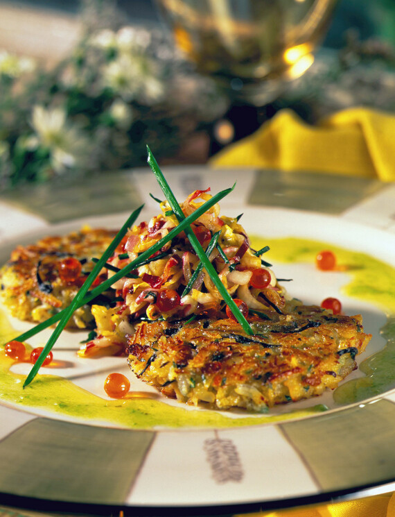 Idaho® Potato, Crab and Onion Pancake with Endive and Caviar Salad