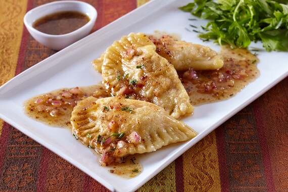Idaho® Potato Pastrami Pierogi with Mustard Brown Vinaigrette