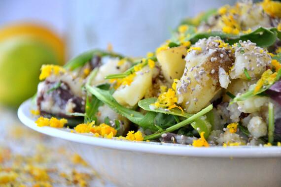 Green and Gold 'Mashed' Potato Salad with Honey Basil Yogurt