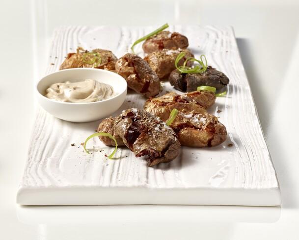 Fingerling Potato Tostones with Black Garlic Aïoli
