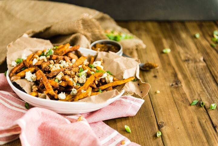 Fresh Cut Idaho Fries with Sweet Soy Glaze, Toasted Walnuts, Gorgonzola and Togarashi