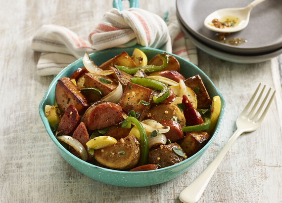Crispy Idaho® Potatoes with Summer Garden Vegetables and Andouille Sausage