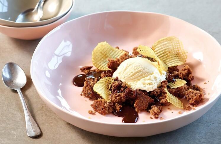 Potato Ice Cream on Crumbled Chocolate Potato Cake