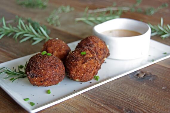 Mashed-Up Kimchi Reuben Tater Bombs with Sweet Onion & Gochujang Aioli
