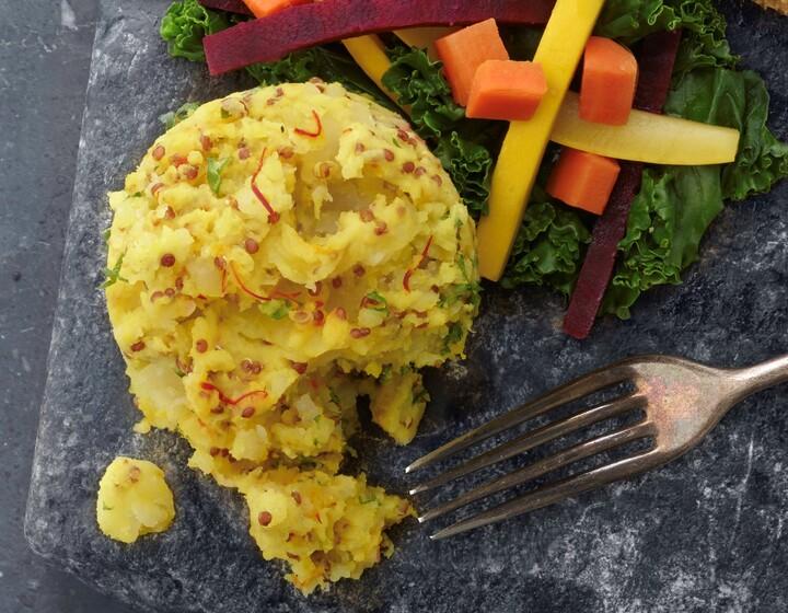 Arabian Snapper with Avocado Yogurt Sauce and Saffron Idaho® Potato and Red Quinoa Cake