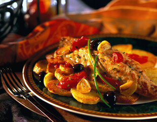 Roasted Yellowtail Snapper with Potatoes, Olives and Tomatoes