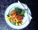Potato Rock Shrimp Cakes with Fresh Mango Fruit Salsa