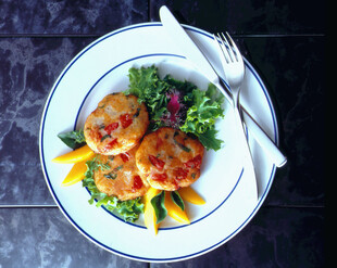 Potato Rock Shrimp Cakes with Fresh Mango Fruit Salsa