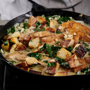 Chicken and Potatoes with Garlic Parmesan Cream Sauce for Idaho® Potatoes