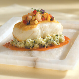 Pan-Seared Halibut with Rock Shrimp Hash & Basil Mashed Idaho® Potatoes