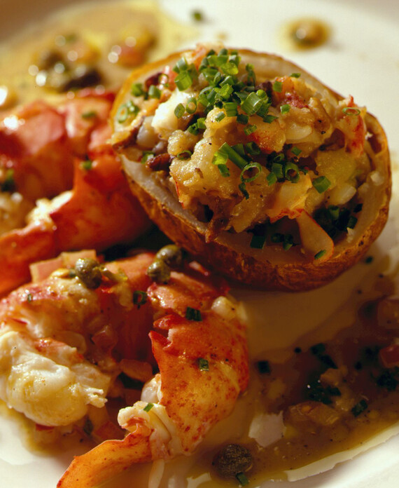 Maine Lobster with Lobster-Stuffed Potato and Saffron-Scented Lobster Vinaigrette