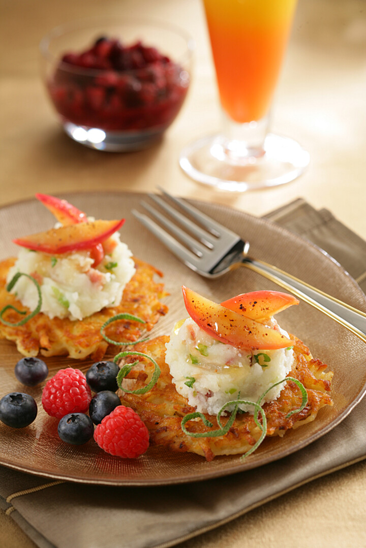German Potato Pancakes with Mashed Idaho® Potatoes, Caramelized Apples and Sage Infused Honey
