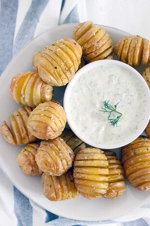 Mini Hasselback Potatoes with Creamy Dill Dip