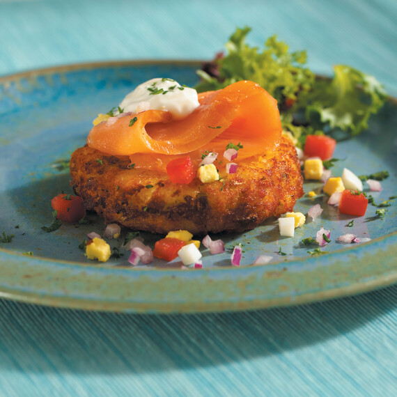 Smoked Coho Salmon on Idaho® Baked Potato Cake