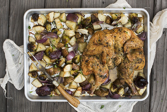 Sheet Pan Spatchcocked Chicken with Idaho® Potatoes and Vegetables