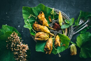 Fried Squash Blossoms Stuffed with Potato