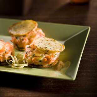Two Bite Gingery Salmon Potato Burgers on Idaho® Potato Crisps